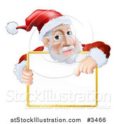 Vector Illustration of a Santa Pointing down to a Sign over His Torso by AtStockIllustration