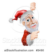 Vector Illustration of a Santa Pointing to a Christmas Sign by AtStockIllustration