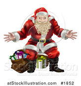 Vector Illustration of a Santa Standing with Open Arms in Front of Presents by AtStockIllustration
