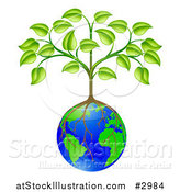 Vector Illustration of a Sapling Tree Growing Roots over a Globe by AtStockIllustration