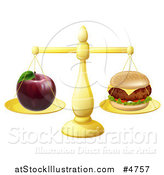 Vector Illustration of a Scale Balancing an Apple and Cheeseburger by AtStockIllustration