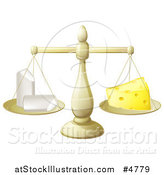 Vector Illustration of a Scale Balancing Chalk and Cheese by AtStockIllustration