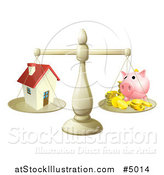 Vector Illustration of a Scale Comparing a House and Piggy Bank by AtStockIllustration