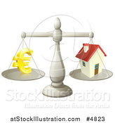 Vector Illustration of a Scale Comparing Euros and a House by AtStockIllustration