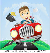Vector Illustration of a Scared Businessman Driving and Losing Control of His Vehicle by AtStockIllustration