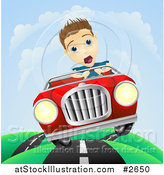 Vector Illustration of a Scared Man Losing Control of His Vintage Sports Car by AtStockIllustration