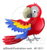 Vector Illustration of a Scarlet Macaw Parrot Presenting to the Left by AtStockIllustration