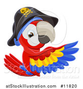 Vector Illustration of a Scarlet Macaw Pirate Parrot Pointing Around a Sign by AtStockIllustration