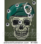 Vector Illustration of a Scratches, Scuffs and Bullet Holes on a Metal Surface with a Skull and Beret Military Motif by AtStockIllustration