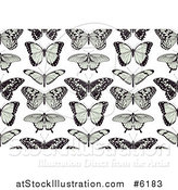Vector Illustration of a Seamless Background Pattern of Black and Green Butterflies on White by AtStockIllustration