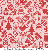 Vector Illustration of a Seamless Background Pattern of Red Christmas Items on Pink by AtStockIllustration