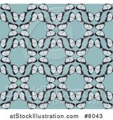 Vector Illustration of a Seamless Background Pattern of Vintage Butterflies Forming Circles over Blue by AtStockIllustration