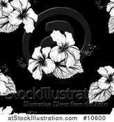 Vector Illustration of a Seamless Black and White Tropical Hibiscus Flower Background Pattern by AtStockIllustration