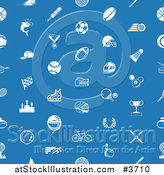 Vector Illustration of a Seamless Blue Sports Pattern with White Icons by AtStockIllustration