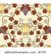 Vector Illustration of a Seamless Grape Vine Background with Autumn Leaves, Fruit and Urns on Beige by AtStockIllustration