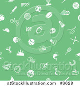 Vector Illustration of a Seamless Green Background with White Sports Icons by AtStockIllustration