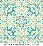 Vector Illustration of a Seamless Green, Beige and Blue Middle Eastern Floral Background by AtStockIllustration