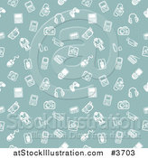 Vector Illustration of a Seamless Green Gadget Background Pattern with White Icons by AtStockIllustration
