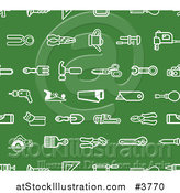 Vector Illustration of a Seamless Green Hardware and Tool Icon Pattern by AtStockIllustration