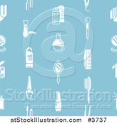 Vector Illustration of a Seamless Pattern of White Cosmetics Icons on Blue by AtStockIllustration
