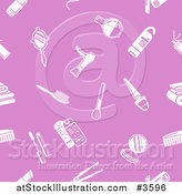 Vector Illustration of a Seamless Pink and White Beauty Product Pattern by AtStockIllustration