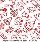 Vector Illustration of a Seamless Red and White Christmas Icon Pattern Background by AtStockIllustration