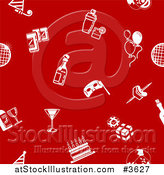 Vector Illustration of a Seamless Red Background with White Party Icons by AtStockIllustration