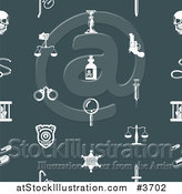 Vector Illustration of a Seamless Teal Crime Background Pattern with White Icons by AtStockIllustration