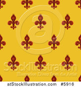 Vector Illustration of a Seamlessly Tileable Burgundy Fleur De Lis on Gold Background Pattern by AtStockIllustration
