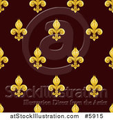 Vector Illustration of a Seamlessly Tileable Gold Fleur De Lis on Burgundy Background Pattern by AtStockIllustration