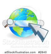 Vector Illustration of a Search Box and Arrow Cursor over a Globe by AtStockIllustration