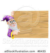 Vector Illustration of a Senior Male Wizard Pointing Around a Plank Wooden Sign by AtStockIllustration