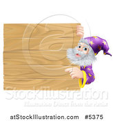 Vector Illustration of a Senior Male Wizard Pointing at a Wooden Sign by AtStockIllustration