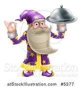 Vector Illustration of a Senior Wizard Holding up a Food Platter by AtStockIllustration