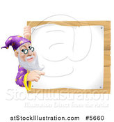 Vector Illustration of a Senior Wizard Pointing Around a Posted Notice Sign on Wood by AtStockIllustration