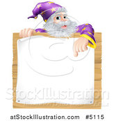 Vector Illustration of a Senior Wizard Pointing down to a Posted Notice Sign by AtStockIllustration