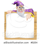 Vector Illustration of a Senior Wizard Pointing down to a Posted Notice Sign on Wood by AtStockIllustration