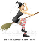 Vector Illustration of a Sexy Blond Witch in a Tight Black Dress, Stockings, Hat and Black Shoes, Flying Through the Sky on a Broom by AtStockIllustration