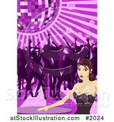 Vector Illustration of a Sexy Woman Holding Champagne at a Table While Others Dance Under a Disco Ball by AtStockIllustration