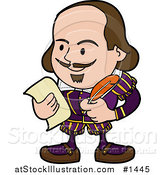 Vector Illustration of a Shakespeare with a Beard and Mustache, Holding a Quill Pen and a Piece of Paper by AtStockIllustration