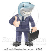 Vector Illustration of a Shark Businessman Grinning and Holding a Thumb up by AtStockIllustration