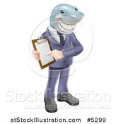 Vector Illustration of a Shark Businessman Pointing to a Contract by AtStockIllustration