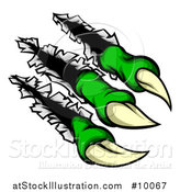 Vector Illustration of a Sharp Green Claws Shredding Through Metal by AtStockIllustration