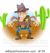 Vector Illustration of a Sheriff Cowboy in Western Wear in a Desert, Preparing to Draw His Guns by AtStockIllustration