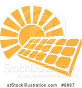 Vector Illustration of a Shining Orange Sun Behind a Solar Panel Photovoltaics Cell by AtStockIllustration
