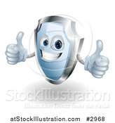 Vector Illustration of a Shiny 3d Blue Shield Mascot Holding Two Thumbs up by AtStockIllustration