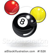 Vector Illustration of a Shiny Billiards Eight Ball with Red and Yellow Balls by AtStockIllustration