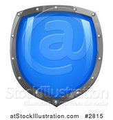 Vector Illustration of a Shiny Blue Shield with Silver Edges by AtStockIllustration