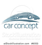 Vector Illustration of a Shiny Blue Sports Car Zooming by over Sample Text by AtStockIllustration