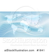 Vector Illustration of a Shiny Blue World Atlas with Waves by AtStockIllustration